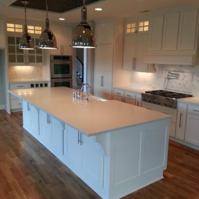 Custom Open Kitchen Island With Hanging Lights