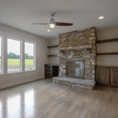 custom built wood burning fireplace
